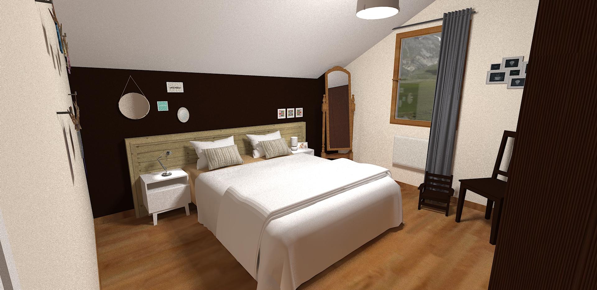 Décoration Chambre parentale Passy, déco chambre marron Haute Savoie